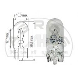 Żarówka 12V 5W T10 całoszklana