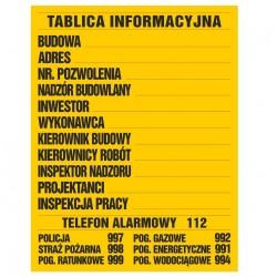 Tablica informacyjna budowlana 90*70