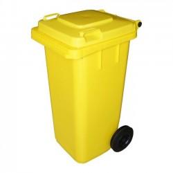 Pojemnik plastikowy na śmieci 120l. żółty