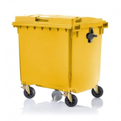 Pojemnik plastikowy na śmieci 660l. żółty